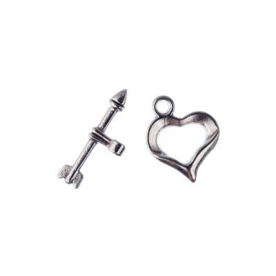 Chiusura a T a forma di Cuore e Freccia color Argento t bar 1.9 cuore 1.6x1.3 cm - 5 pz.