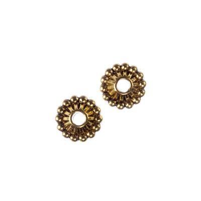 Distanziatore Tibetano Biconico color Oro diametro 1.08 cm - 5 pz.