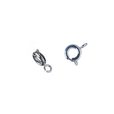 Chiusura ad anello in Ottone da 6 mm, color platino - 6 pz.