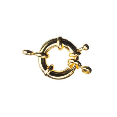 Chiusura anello in Ottone con molla color Oro diametro 1.7 cm - 1 pz.