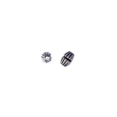 Distanziatore Biconico rigato in stile Tibetano color Argento da 0.6 cm - 20 pz