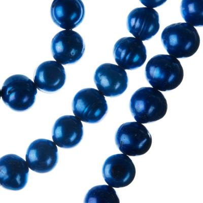 Filo di Perle Tonde Irregolari (Potato) Grado A da 10-11 mm color Blu