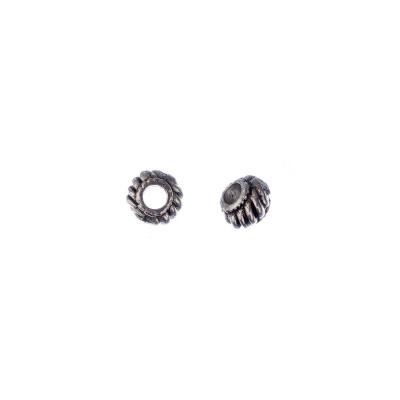 Distanziatore Tibetano a forma di rondella color Argento diametro 0.6 cm - 20 pz.