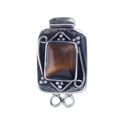 Chiusura per collana in Argento 925 e Occhio di Tigre 2.8x1.6x1.1 cm