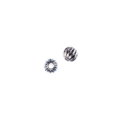 Distanziatore Pallina Tibetano color Argento diametro 0.6 cm - 15 pz.