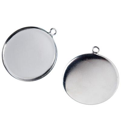 Castone tondo per Pendenti in Ottone, vassoio da 20 mm color argento - 1 pz.