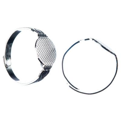 Base per Anelli regolabile in Ottone, pad da 10 mm, diametro circa 18 mm, color argento - 1 pz.