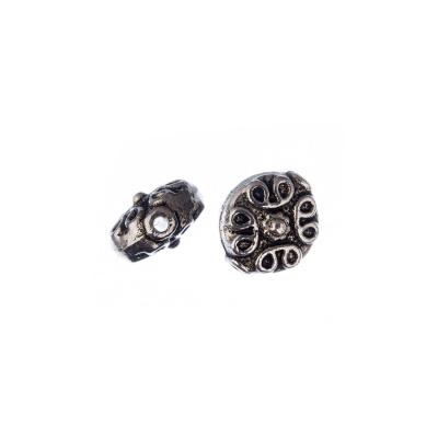 Distanziatore rotondo e piatto in stile Tibetano color Argento diametro 1 cm - 4 pz.