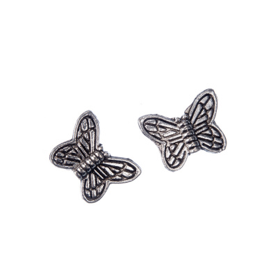 Distanziatore in stile tibetano a farfalla color Argento 1.4x1 cm - 10 pz.