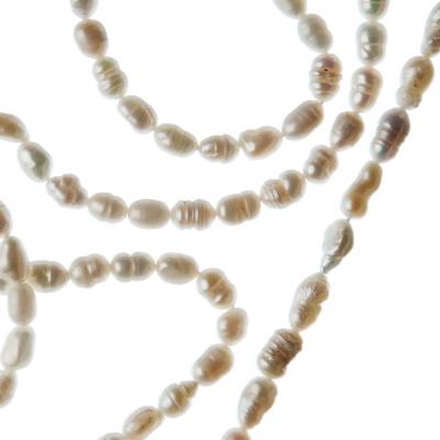 Filo di Perle Grado A a forma di riso da 4-5 mm color Bianco
