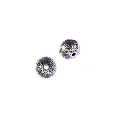 Distanziatore a Pallina Schiacciata color Argento diametro 0.9cm - 8 pz.