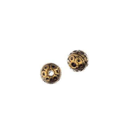 Distanziatore Pallina Tibetana Decorata Color Oro diametro 0.8 cm - 10 pz.