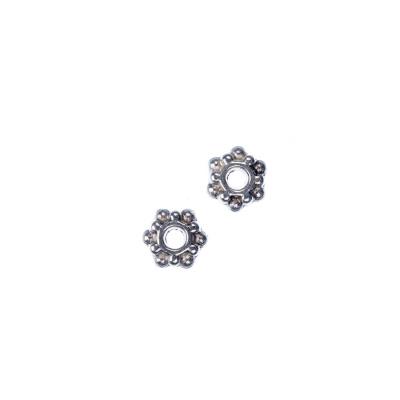 Distanziatore Rondella Tibetana color Argento diametro 0.7 cm - 20 pz.