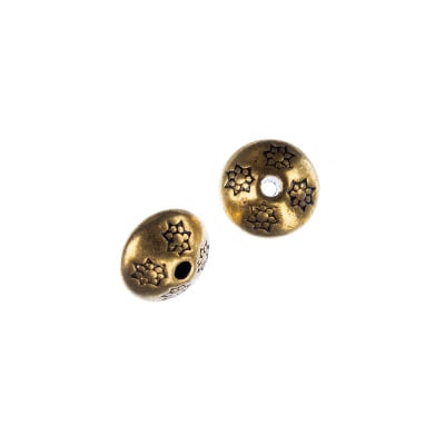 Distanziatore Biconico a disco decorato color Oro diametro 1 cm - 5 pz.