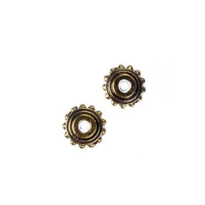 Distanziatore Tibetano decorato di forma a Ciambella diametro 1 cm - 5 pz.