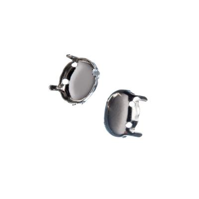 Castone ovale in Ottone, vassoio da 10x8 mm, ad artiglio color argento - 20 pz.