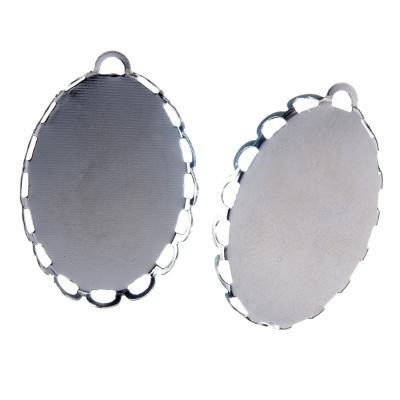 Castone ovale per Pendenti in Ottone, vassoio da 25x18 mm color argento - 2 pz.