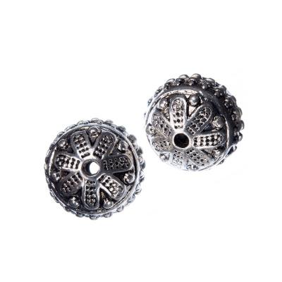 Distanziatore Pallina Tibetana Decorata color Argento diametro 1.6 cm - 1 pz.