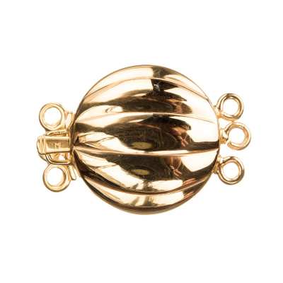 Chiusura tonda in Argento 925 dorato a incastro - 3 fili, diametro 2 cm - 1pz.