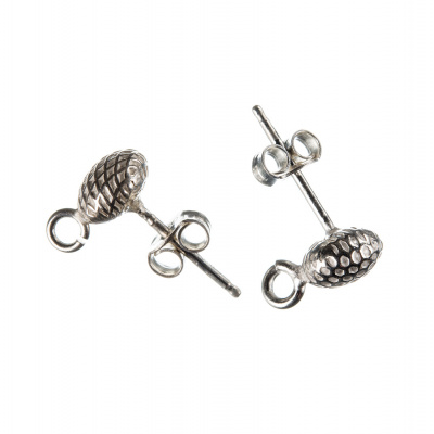 Orecchino a perno in Argento 925 - tondo decorato diametro 0.7 cm. - 2pz