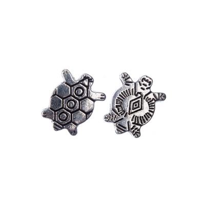 Distanziatore in stile tibetano a tartaruga color Argento 1x1.1 cm - 5 pz.