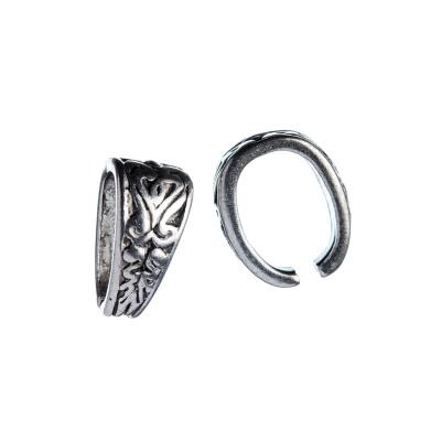Gancio per pendenti in Stile Tibetano color Argento 1.3x1.1 cm - 10 pz.