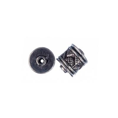 Distanziatore Tibetano decorato a forma di tamburo color Argento 0.8x0.4 cm - 4 pz.