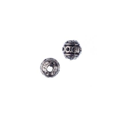 Distanziatore a Pallina Decorato color Argento diametro 0.8 cm - 10 pz.