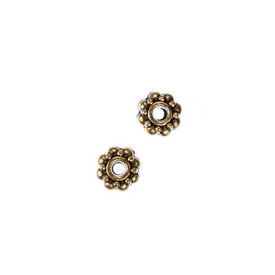 Distanziatore Tibetano color Oro a Rondella diametro 0.7 cm - 10 pz.