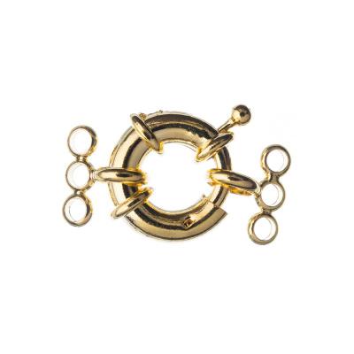 Chiusura anello in Ottone tre fili con molla color Oro diametro 1.7 cm - 1 pz.