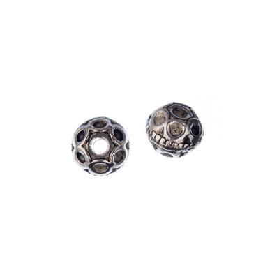 Distanziatore Tibetano a sfera decorato color Argento diametro 0.95 cm - 4 pz.