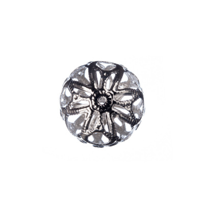 Distanziatore Pallina Traforata Color Argento diametro 1.8 cm - 1 pz.