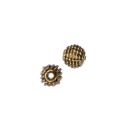 Distanziatore Pallina Tibetana Decorata color Oro diametro 0.8 cm - 8 pz.
