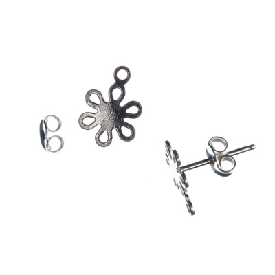 Orecchino a perno in Argento 925 -  fiore diametro 0.8 cm - 2 pz.