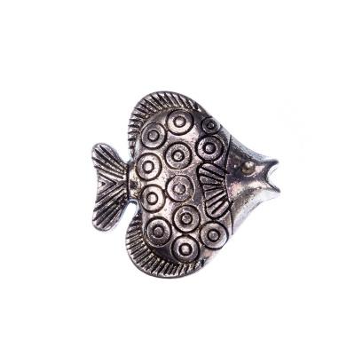 Distanziatore Tibetano Decorato Pesce color Argento 2.35x0.5 cm - 1 pz.