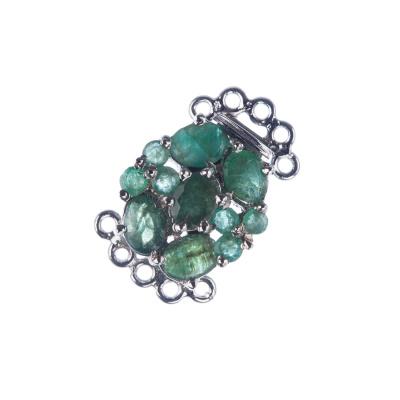 Chiusura in Smeraldi e Argento 925 Rodiato 1.4x2.3x0.8 cm