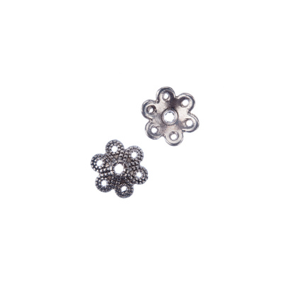 Coppetta a fiore tibetano decorata color Argento diametro 0.9 cm - 20 pz.
