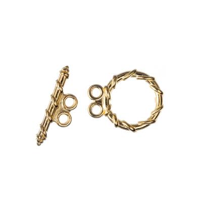Chiusura a T a due fili con decorazione color Oro diametro 1.48 lunghezza 1.8 cm - 4 pz.
