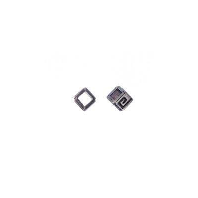 Distanziatore a cubo in stile Tibetano color Argento 0.4x0.4 cm - 20 pz.