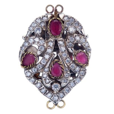 Chiusura per collana in Argento tibetano, Rubini e Zirconi 3.9x2.6x0.9 cm