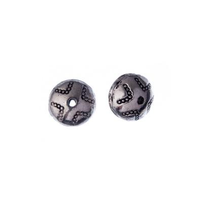 Distanziatore a disco in stile Tibetano color Argento diametro 1.1 cm - 2 pz.