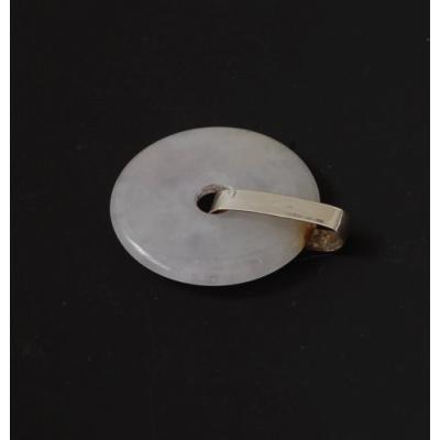Ciondolo Donut in Giadeite, con montatura in Argento 925