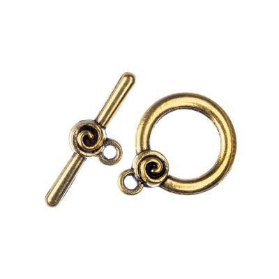 Chiusura decorata a T color Oro t bar 2.6 diametro 1.7 cm - 2 pz.