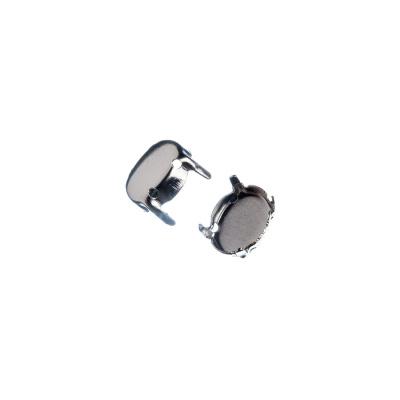 Castone ovale in Ottone, vassoio da 8x6 mm, ad artiglio color argento - 30 pz.