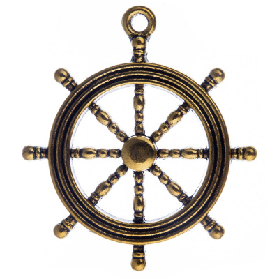 Pendente a forma di Timone color Oro Anticato diametro 3.1 - 2 pz.
