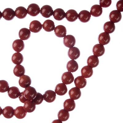 Corallo Bambù Rosso - Filo di sfere lisce da 5mm