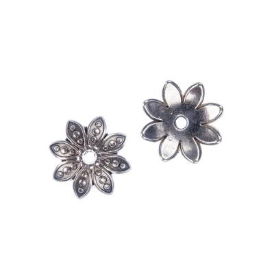 Coppetta a forma di fiore decorata color Argento diametro 1.3 cm - 8 pz.