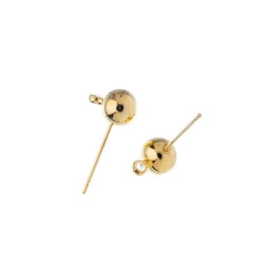 Elemento orecchini in ottone da 14mm a spillo con sfera color Oro - 2 pz.