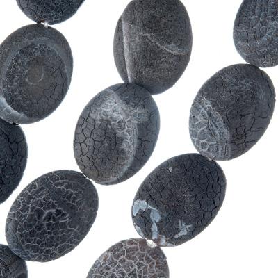 Agata Nera Smerigliata - filo di elementi irregolari