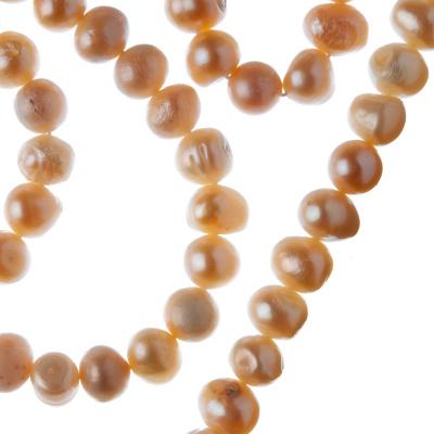 Filo di Perle Tonde Irregolari (Potato) Grado B da 7-8 mm color Pesca Rosata